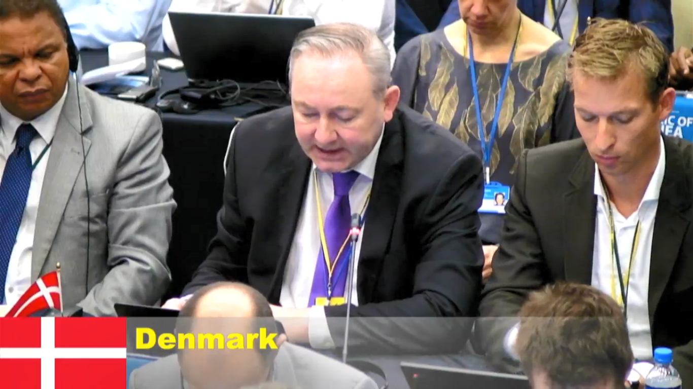 Faroe Islands representative explaining his support for Japan's proposal to overturn the commercial whaling moratorium
