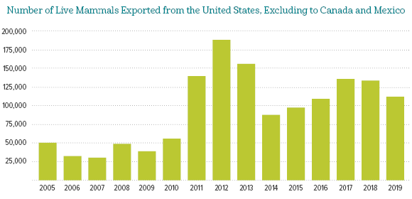 Number of Live Mammals Exported from the US, Excluding Canada and Mexico