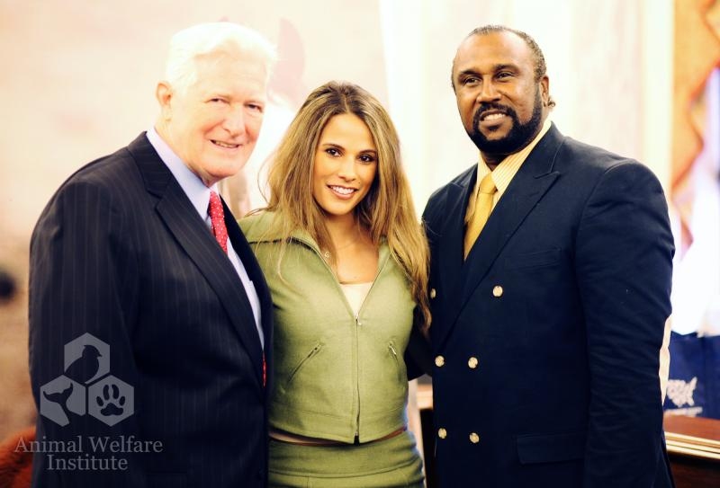 From left to right, Congressman Jim Moran, sports commentator Bonnie-Jill Laflin and John Boyd-president of the National Black Farmers Association together at the Horses on the Hill conference. By Alexandra Alberg.