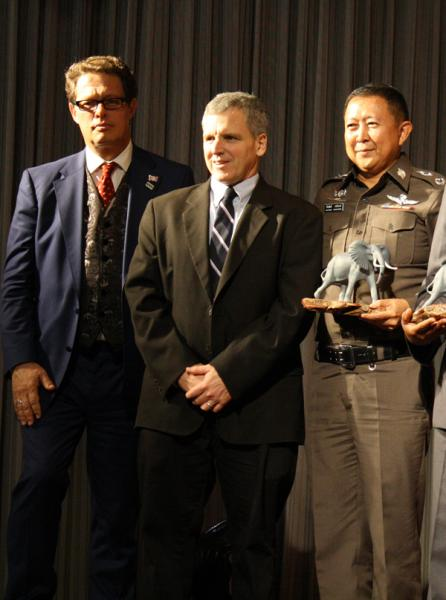 From left to right: Will Travers, Born Free CEO; D.J. Schubert, Animal Welfare Institute; Police Major General Kiattipong Khaosamang, Commander of Surat Thani Province, Royal Thai Police, Thailand.