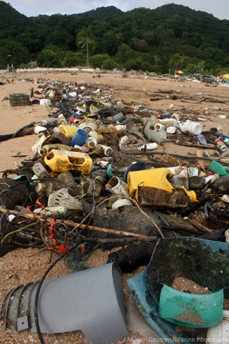 Ocean Pollutants, Debri on Beach